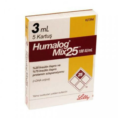 Picture of Humalog Mix 25 100IU 3ml-5 Cartridges